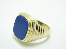 Herren Lapis Ring 585 Gold 14 Karat Siegelring Größe 65 Herren Gelbgoldring