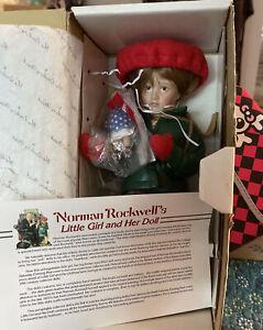 Danbury Mint Norman Rockwell's LITTLE GIRL AND HER DOLL Porcelain NIB