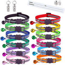 14 Pack Reflective-Breakaway Cat Collars with Bells,with Safety Quick