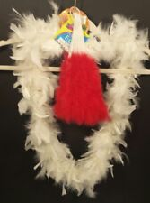 48 inch Circular White Feather BOA and Foldable Red Feather FAN Crafts Flapper