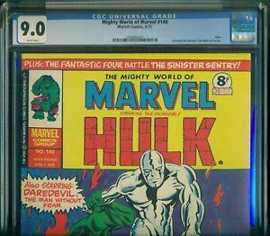 MIGHTY WORLD OF MARVEL #140 CGC 9.0 VF/NM Marvel UK Silver Surfer VS Hulk TTA 93