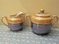 Antique Sugar and Creamer Pair Japan Peach Blue Lusterware