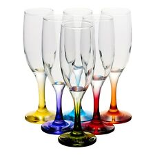 Tall 6x19cl Champagne Coloured Glasses Stem Wine Red White Wedding Dinner Party
