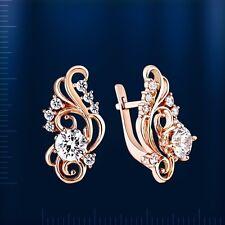 CZ Earrings Russian beautiful ornament solid rose gold 585 /14k NWT