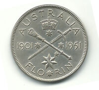 Australia Silver Coin Florin 1901 1951 50 Years Federation Commemorative King