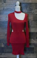 Lush Long Sleeve Red Dress Size Medium Casual Club Party