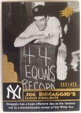 2009 SPx Joe DiMaggio Career Highlights #JD78 Joe DiMaggio 365/425 Yankees!!