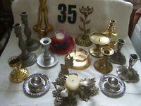 Vintage Large Lot of 16 Quality Brass Candle Holders Brass India silver others