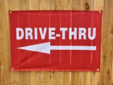New Drive Thru Now Open Banner Outdoor Arrow Sign Restaurant Takeout Vinyl Mesh