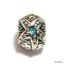 'STARFISH' Silver Plated Starfish with Turquoise CZ European Charm Bead