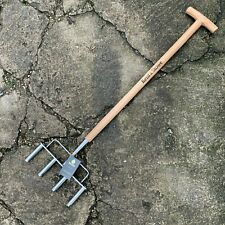 More details for kent & stowe stainless steel 4 prong hollow tine aerator - lawn, grass