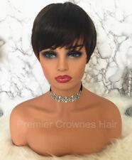 100% Brazilian Human Hair Wigs Short Bob Cut Wig Straight Layered Women Lady Wig