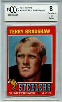 1971 Topps #156 Terry Bradshaw Rookie Card BGS BCCG 8 Excellent