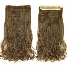 Thick Human Hair 1Piece Full Head Clip In Hair Extension Straight Wavy Fake Hair