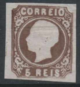 Portugal - 1862/4, 5r Deep Brown - Type II - 4 Margins - Mint no gum - SG 27