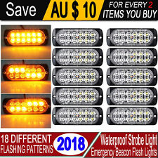 10x AMBER RECOVERY STROBE 12 LED LIGHTS ORANGE GRILL BREAKDOWN FLASHING BEACON