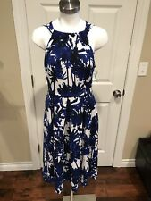 Eva Franco Blue & White Fit & Flare Dress, Size 4 New