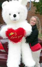 6 Foot Teddy Bear Giant White Soft With I Love You Heart, 72 Inch Made in USA