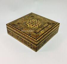 VINTAGE MOSAIC WOODEN JEWELLERY AND ACCESSORIES BOX 20x20x6cm علبة موزييك