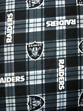 NFL Oakland Raiders Football Name & Logo Black Plaid Fleece Fabric 1-1/2-yds