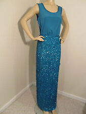 NWT St John Knit Gown skirt & top size 6 turquoise sequins