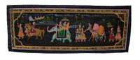 Parete Pittura Mughal Su Seta Arte Scena Di Vita India 98x38cm 3