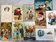 Lot of 10 Vintage Christmas Postcards All Santa Claus Early 1900s Not Perfect