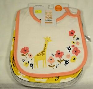 NWT Baby Girls' 3pk Giraffe Floral Chef Bib Set Just One You by Carter's Yellow