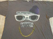 BOOMBOX Face T-SHIRT Mens XXL Gold Chain Grill Bling Swag Shades Hip-Hop Gangsta