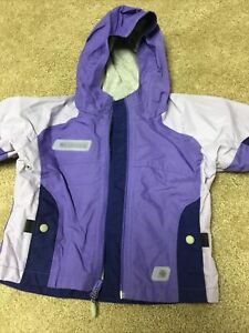 Columbia Girls Sz 2T Lined Purple Spring Summer Fall Jacket With Hood