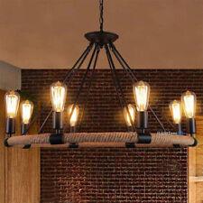 Farmhouse Chandelier 8 Light Retro Industrial Hemp Rope Pendant Ceiling Fixture