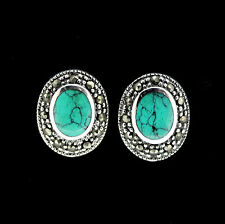 Sterling Silver Marcasite & Sim Turquoise Vintage Style Stud Earrings RRP $90