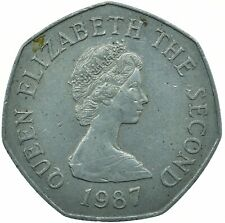 BAILIWICK OF JERSEY 1987 50 PENCE / ELIZABETH II BEAUTIFUL COIN    #WT29921