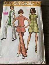 Vintage Simplicity 1970 Mod Pants Suit Dress Pattern 8689 Uncut