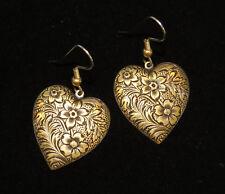 Heart Valentine Earrings Stamped Floral Antiqued Brass Love Vintage Inspired