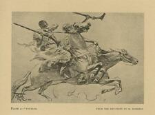 ANTIQUE MOROCCO FANTASIA BERBER HORSE RUNNING SOLDIER MUSKET SMALL OLD PRINT