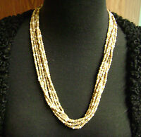 "VINTAGE 6 STRAND TAN/LT. BROWN  SEED BEADED 22.5"" LONG  NECKLACE"
