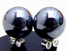 SALE Big 10MM AAA Round Black natural HEMATITE Earrring silver S925 Stud-ear161