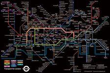 Black London Underground Tube Map Poster - Transport - 61 x 91.5cm Maxi Poster