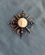 Sterling Silver Goddess Sun Face Brooch Pin Pendant