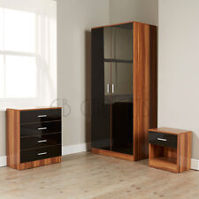 Black Walnut Bedroom Furniture Set High Gloss Wardrobe Chest Bedside 3 Piece New