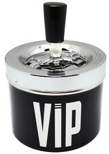 VIP BLACK Μetal Spinning Windproof Ashtray Smoking Cigarette Push Down Ashes