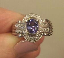 14K White Gold Oval TANZANITE & DIAMOND HALO Ring, 1.6 Cttw, SUBSTANTIAL 6 Grams