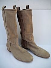SARTORE beige suede perforated detail boots Euro size 39