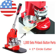 "Manual 1"" (25mm) Button Maker Badge Punch Press Machine+1000 Parts+Circle Cutter"