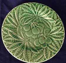 "Bordallo Pinhiero Portugal Cherry Cluster Design 8"" Green Majolica Plate"
