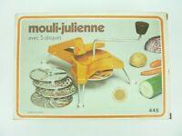 Moulinex Mouli-Julienne 445 Vintage Slicer Shredder Grater 5 Discs -France