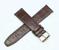 "Jacques Lemans 22MM Alligator Grain Real Leather Watch Strap 8"" BROWN Rose Gold"