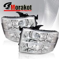 For 07-13 Chevy Silverado Chrome Housing Headlights Clear Lens/Reflector Lamps