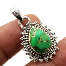 Mohave Green Copper Turquoise 925 Sterling Silver Designer Solid Pendant